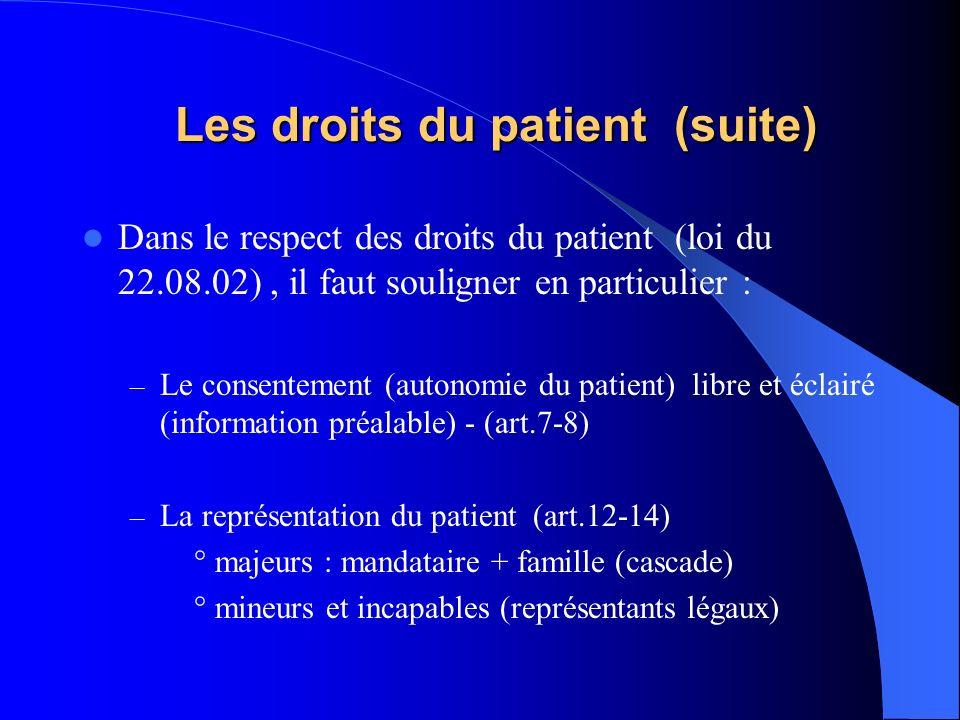 Les droits du patient (suite) Les droits du patient (suite) Dans le respect des droits du patient (loi du 22.08.02), il faut souligner en particulier