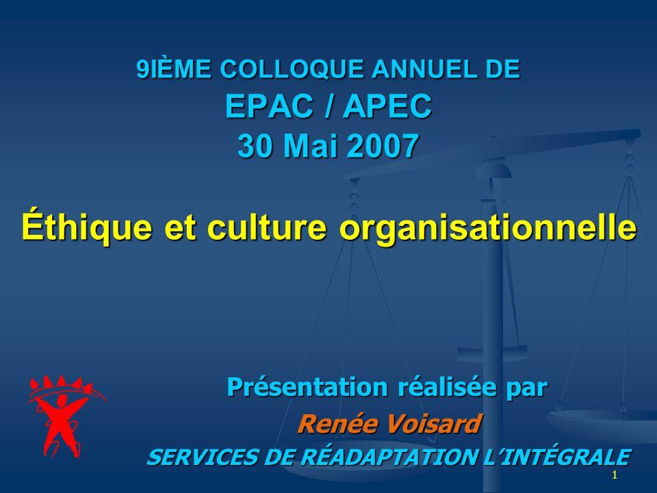 1 9IÈME COLLOQUE ANNUEL DE EPAC / APEC 30 Mai 2007 Éthique et culture organisationnelle Présentation réalisée par Renée Voisard SERVICES DE RÉADAPTATI
