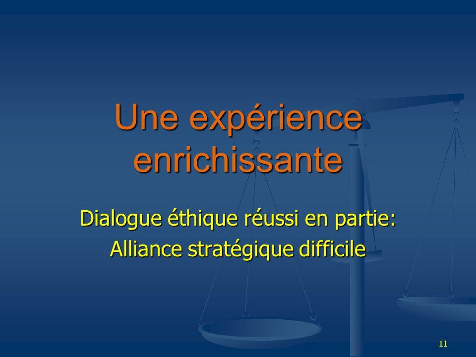 11 Une expérience enrichissante Dialogue éthique réussi en partie: Alliance stratégique difficile
