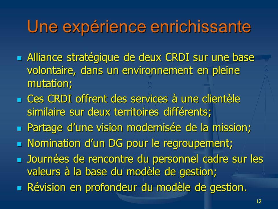 12 Une expérience enrichissante Alliance stratégique de deux CRDI sur une base volontaire, dans un environnement en pleine mutation; Alliance stratégi