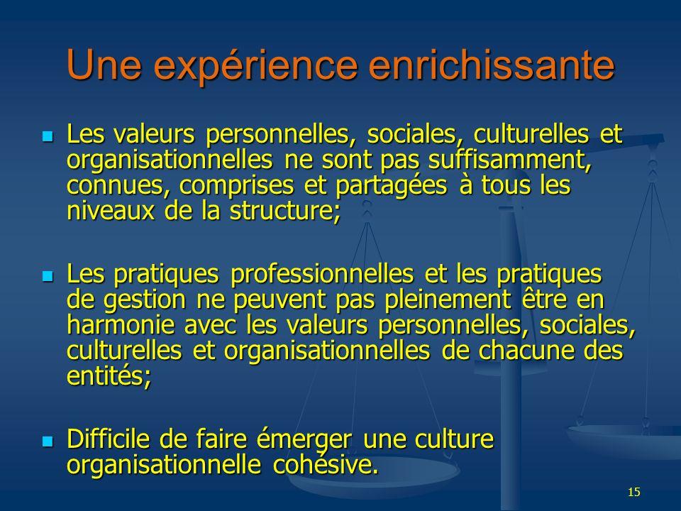 15 Une expérience enrichissante Les valeurs personnelles, sociales, culturelles et organisationnelles ne sont pas suffisamment, connues, comprises et