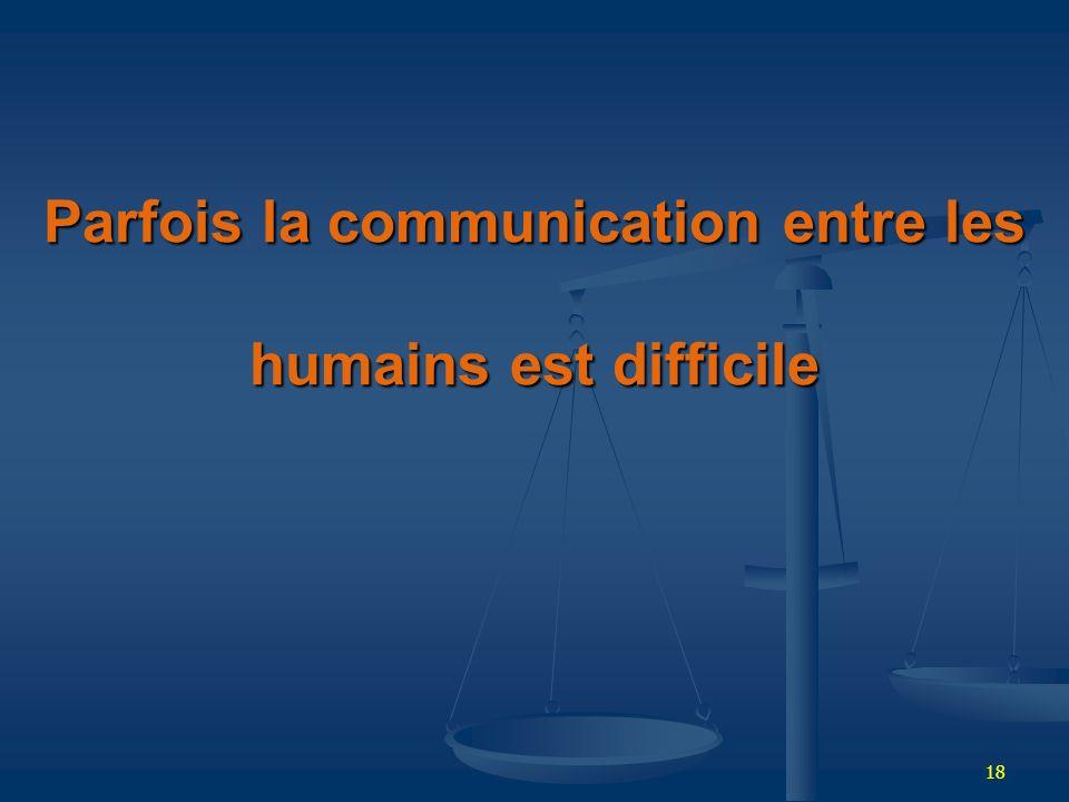 18 Parfois la communication entre les humains est difficile