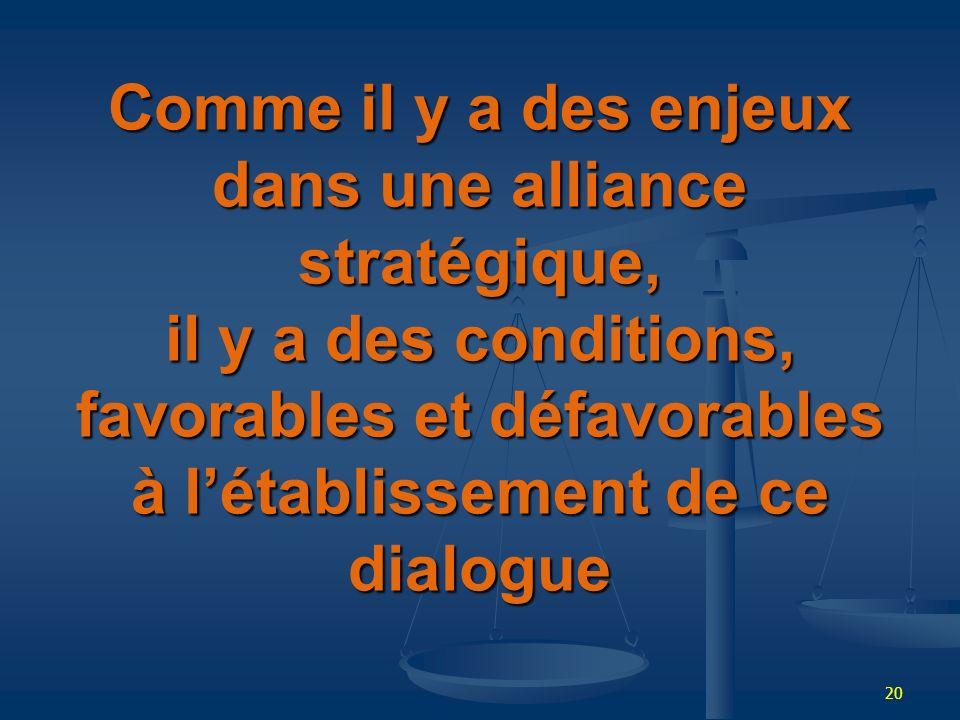 20 Comme il y a des enjeux dans une alliance stratégique, il y a des conditions, favorables et défavorables à létablissement de ce dialogue
