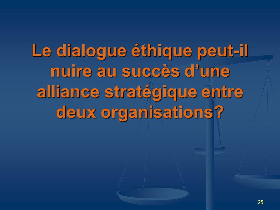 25 Le dialogue éthique peut-il nuire au succès dune alliance stratégique entre deux organisations?