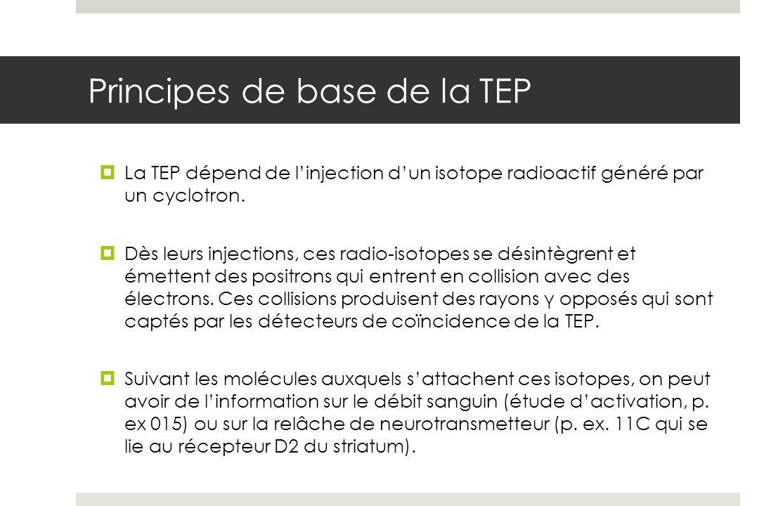Principes de base de la TEP La TEP dépend de linjection dun isotope radioactif généré par un cyclotron.