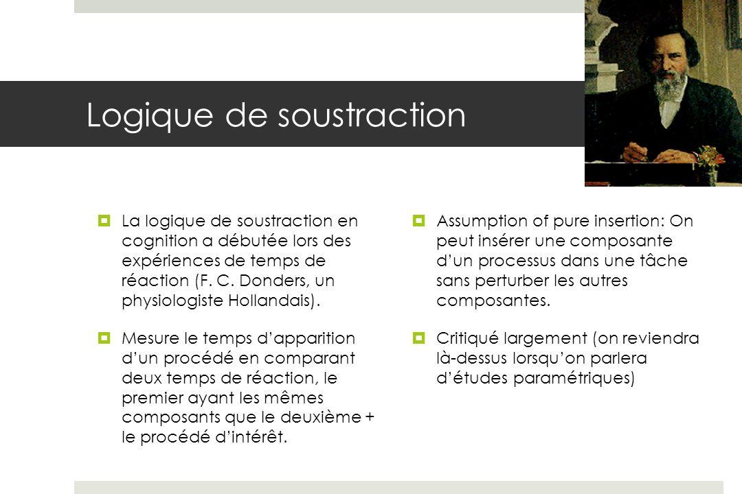 La logique de soustraction en cognition a débutée lors des expériences de temps de réaction (F.