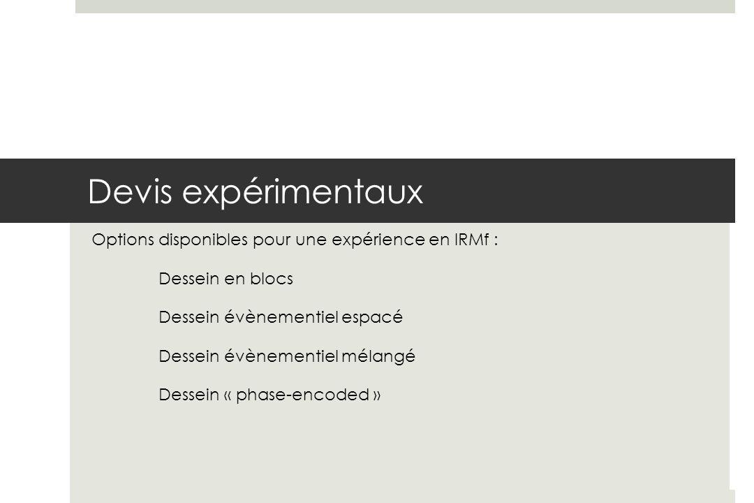 Devis expérimentaux Options disponibles pour une expérience en IRMf : Dessein en blocs Dessein évènementiel espacé Dessein évènementiel mélangé Dessein « phase-encoded »