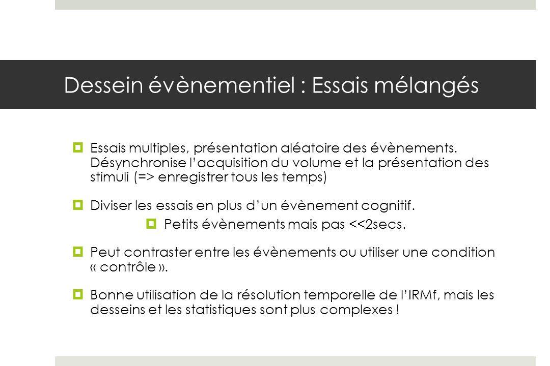 Dessein évènementiel : Essais mélangés Essais multiples, présentation aléatoire des évènements.
