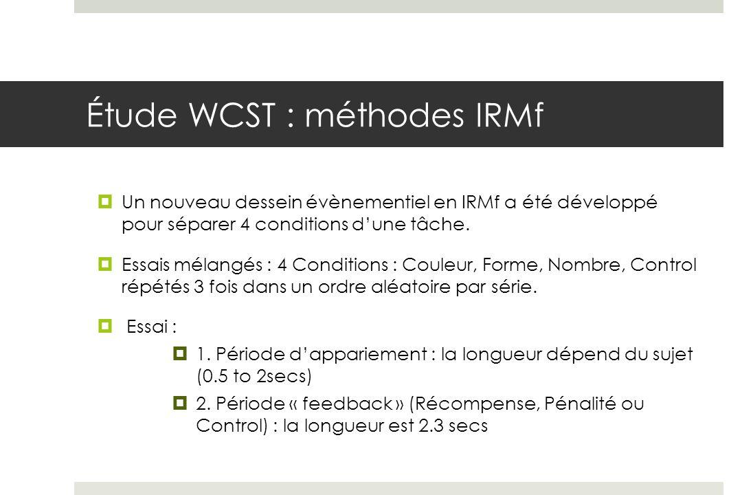 Étude WCST : méthodes IRMf Un nouveau dessein évènementiel en IRMf a été développé pour séparer 4 conditions dune tâche.