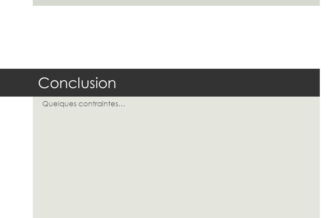 Conclusion Quelques contraintes…