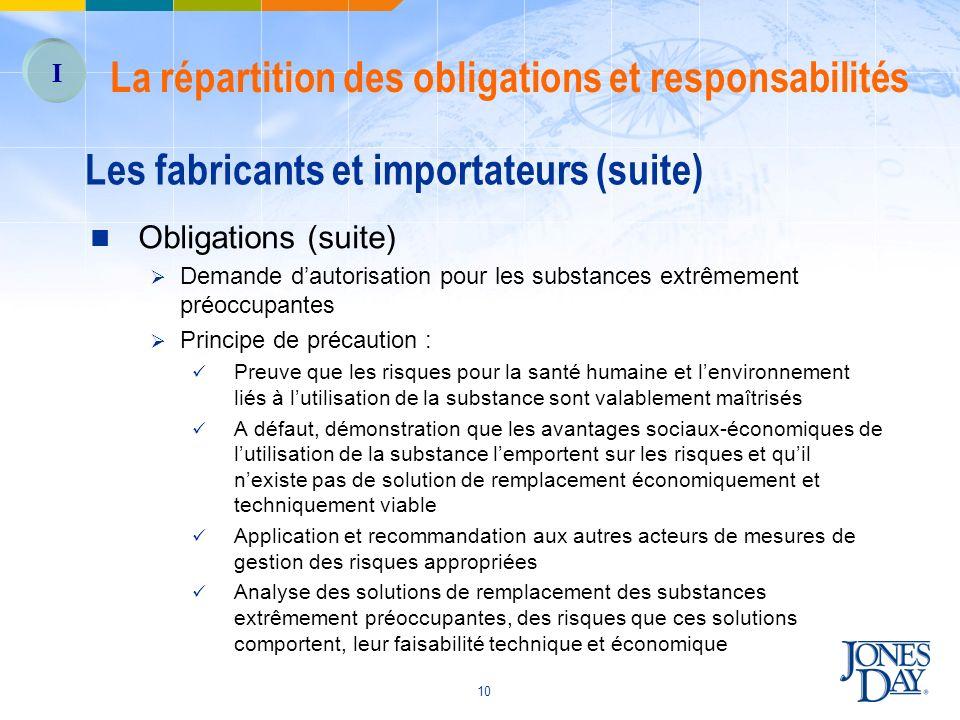 10 Les fabricants et importateurs (suite) Obligations (suite) Demande dautorisation pour les substances extrêmement préoccupantes Principe de précauti
