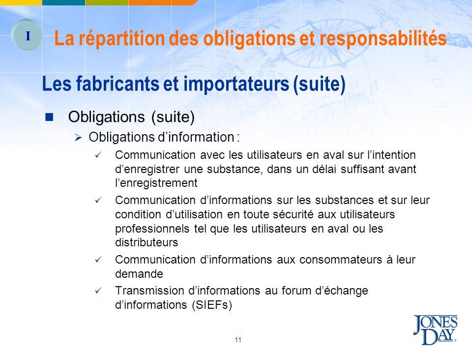 11 Les fabricants et importateurs (suite) Obligations (suite) Obligations dinformation : Communication avec les utilisateurs en aval sur lintention de