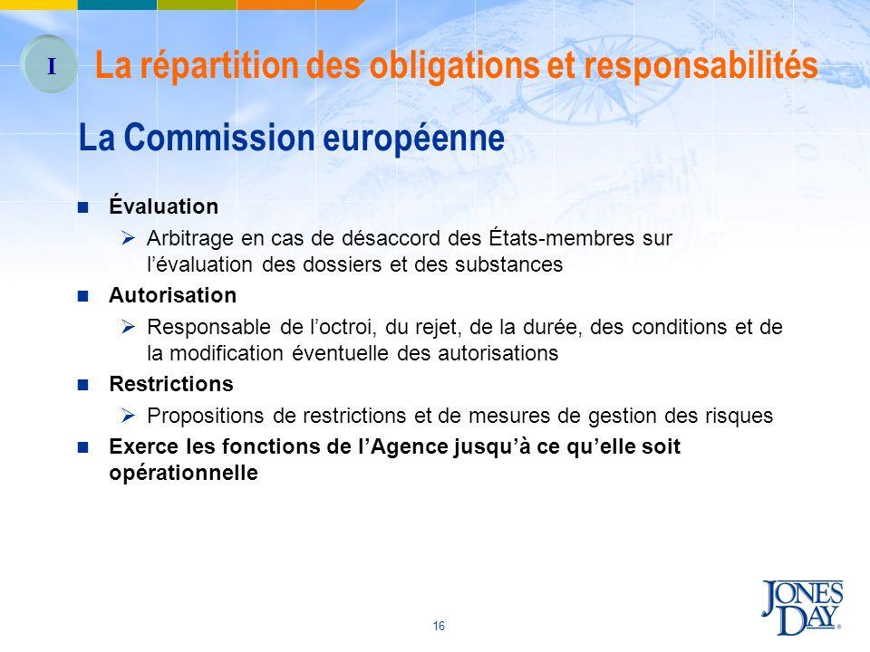 16 Évaluation Arbitrage en cas de désaccord des États-membres sur lévaluation des dossiers et des substances Autorisation Responsable de loctroi, du r