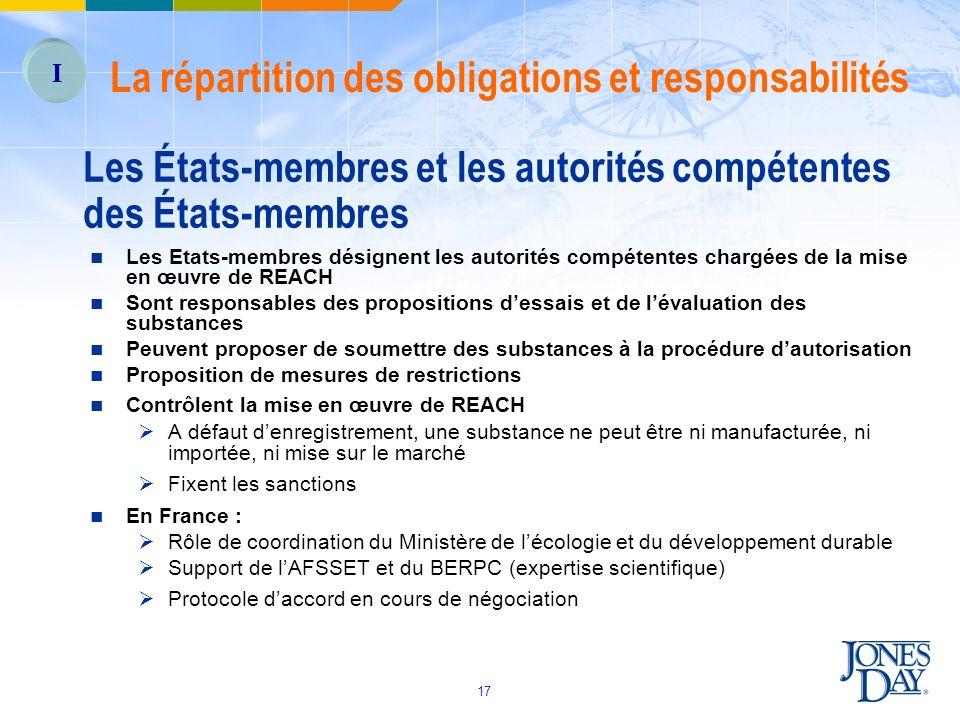 17 Les États-membres et les autorités compétentes des États-membres Les Etats-membres désignent les autorités compétentes chargées de la mise en œuvre