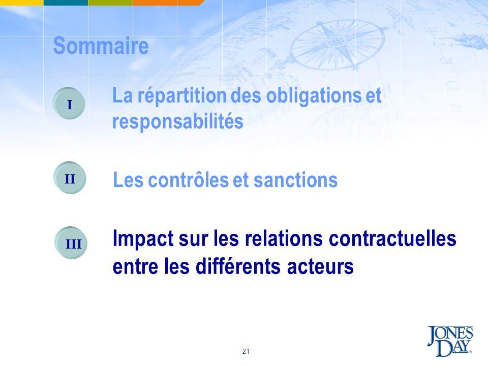 21 I La répartition des obligations et responsabilités II Les contrôles et sanctions III Impact sur les relations contractuelles entre les différents