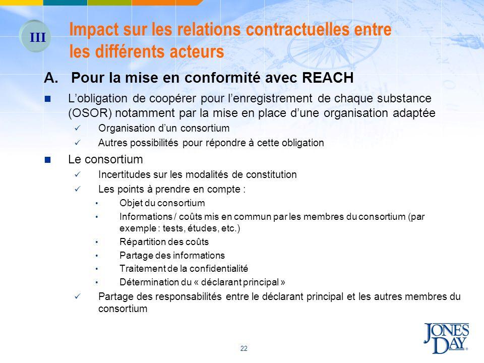 22 A. Pour la mise en conformité avec REACH Lobligation de coopérer pour lenregistrement de chaque substance (OSOR) notamment par la mise en place dun