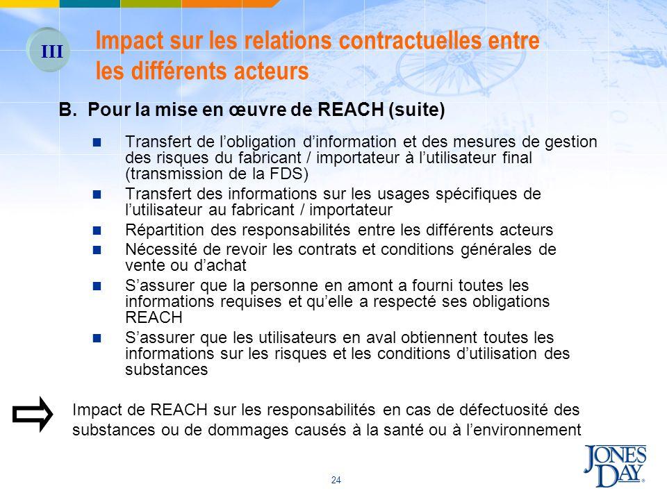 24 B. Pour la mise en œuvre de REACH (suite) Transfert de lobligation dinformation et des mesures de gestion des risques du fabricant / importateur à