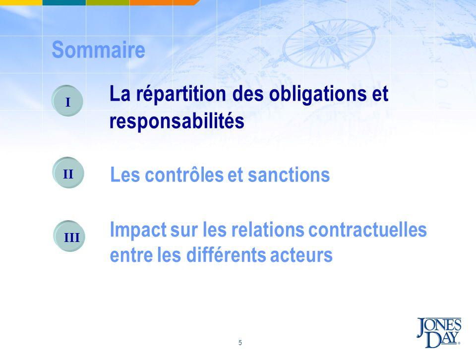 5 I La répartition des obligations et responsabilités II Les contrôles et sanctions III Impact sur les relations contractuelles entre les différents a