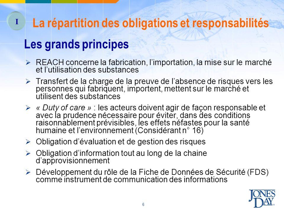 6 Les grands principes REACH concerne la fabrication, limportation, la mise sur le marché et lutilisation des substances Transfert de la charge de la