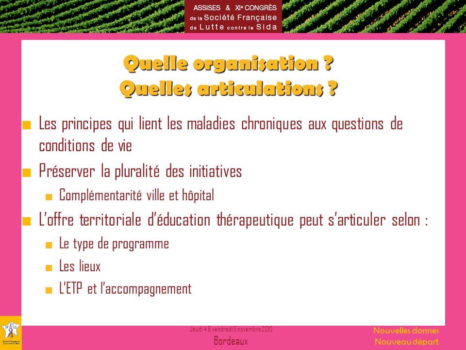 Jeudi 4 & vendredi 5 novembre 2010 Bordeaux Nouvelles donnes Nouveau départ Quelle organisation .