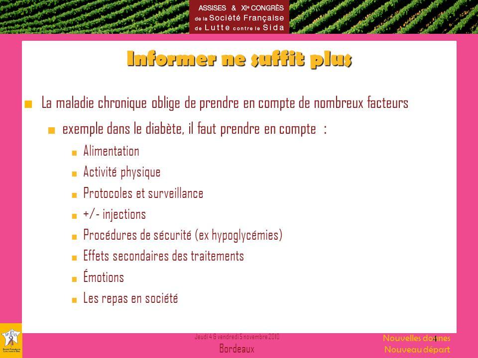 Jeudi 4 & vendredi 5 novembre 2010 Bordeaux Nouvelles donnes Nouveau départ Quels objectifs .