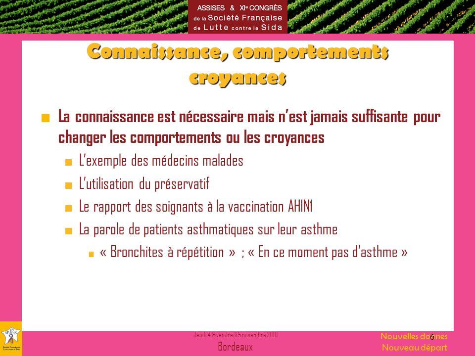 Jeudi 4 & vendredi 5 novembre 2010 Bordeaux Nouvelles donnes Nouveau départ Faire acquérir quelles compétences .