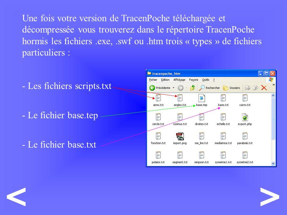 Une fois votre version de TracenPoche téléchargée et décompressée vous trouverez dans le répertoire TracenPoche hormis les fichiers.exe,.swf ou.htm trois « types » de fichiers particuliers : - Les fichiers scripts.txt - Le fichier base.tep - Le fichier base.txt ><