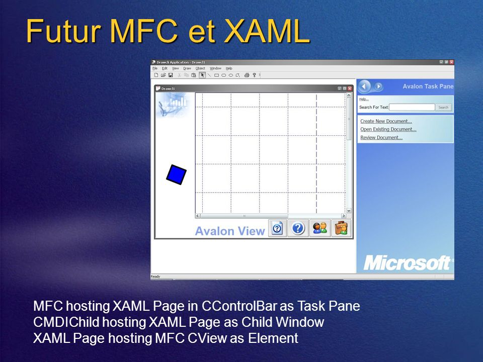 Futur MFC et XAML MFC hosting XAML Page in CControlBar as Task Pane CMDIChild hosting XAML Page as Child Window XAML Page hosting MFC CView as Element