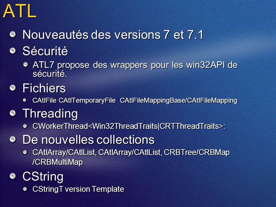 ATL Nouveautés des versions 7 et 7.1 Sécurité ATL7 propose des wrappers pour les win32API de sécurité.