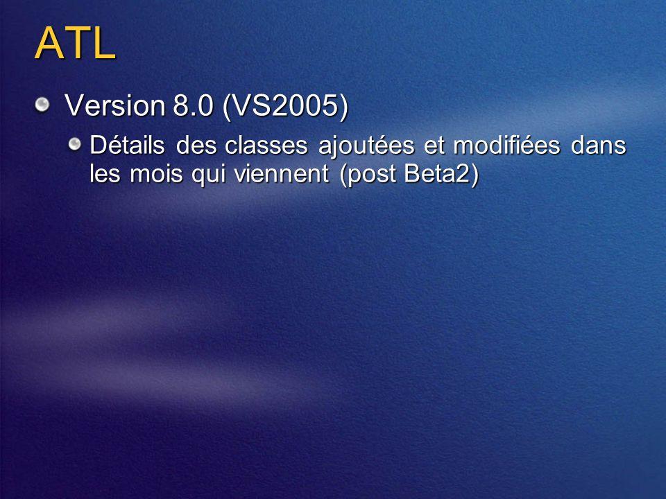 ATL Version 8.0 (VS2005) Détails des classes ajoutées et modifiées dans les mois qui viennent (post Beta2)