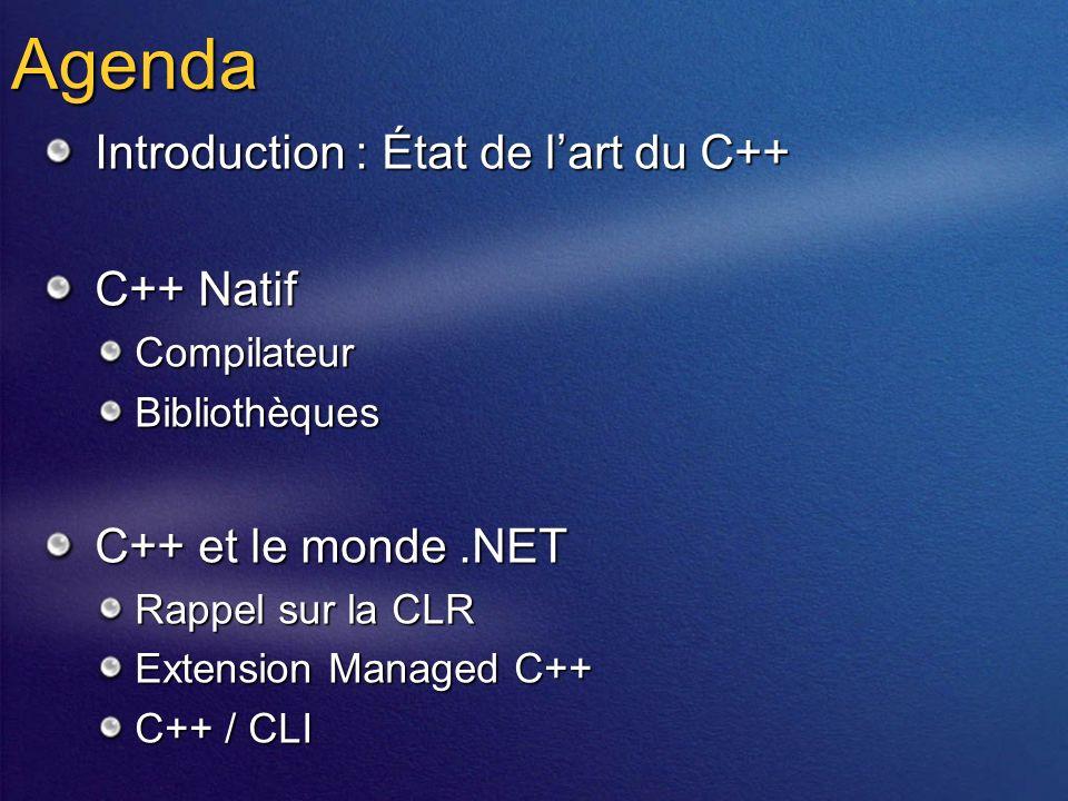 Agenda Introduction : État de lart du C++ C++ Natif CompilateurBibliothèques C++ et le monde.NET Rappel sur la CLR Extension Managed C++ C++ / CLI