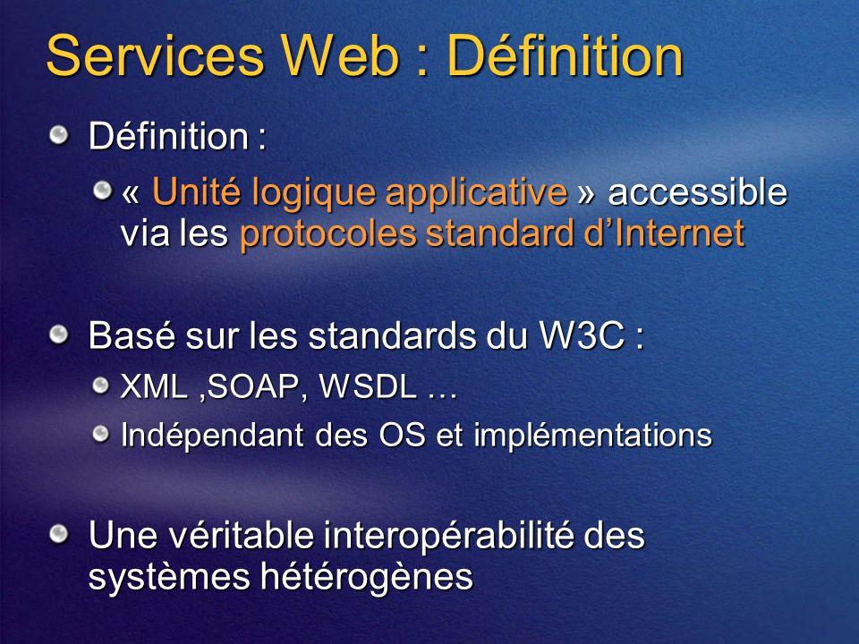 Services Web : Définition Définition : « Unité logique applicative » accessible via les protocoles standard dInternet Basé sur les standards du W3C : XML,SOAP, WSDL … Indépendant des OS et implémentations Une véritable interopérabilité des systèmes hétérogènes