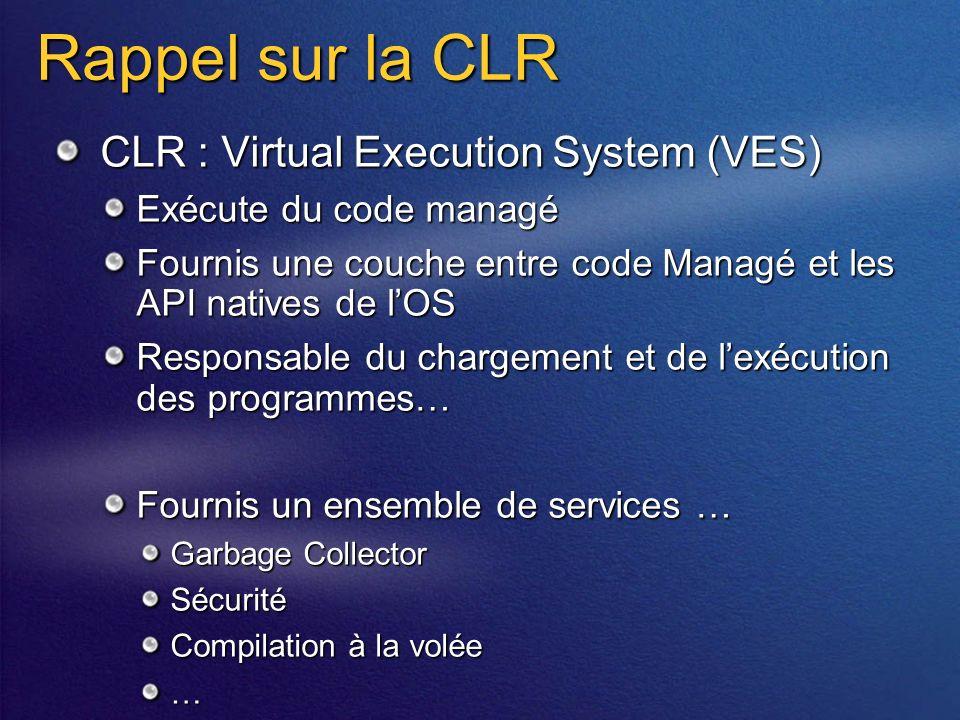 Rappel sur la CLR CLR : Virtual Execution System (VES) Exécute du code managé Fournis une couche entre code Managé et les API natives de lOS Responsable du chargement et de lexécution des programmes… Fournis un ensemble de services … Garbage Collector Sécurité Compilation à la volée …