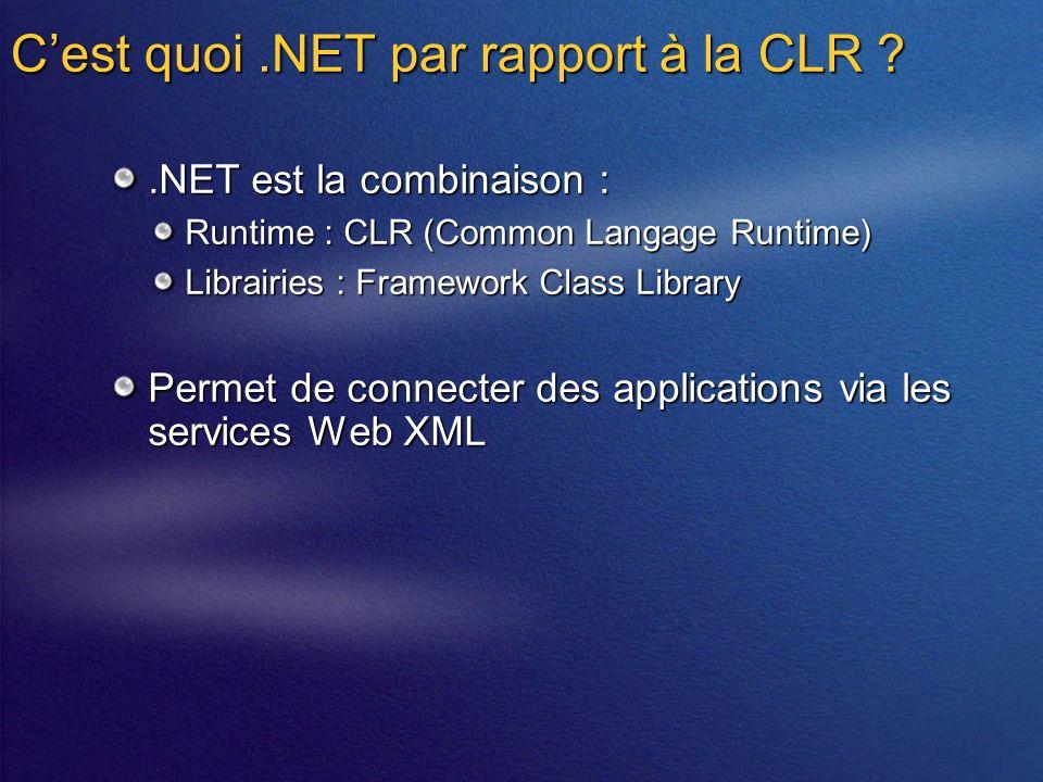 Cest quoi.NET par rapport à la CLR .NET est la combinaison : Runtime : CLR (Common Langage Runtime) Librairies : Framework Class Library Permet de connecter des applications via les services Web XML