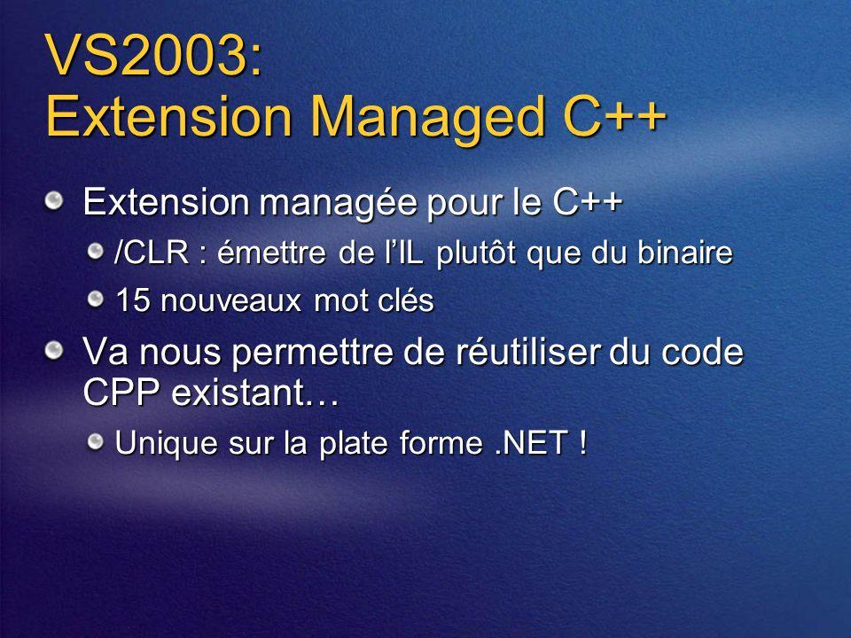 VS2003: Extension Managed C++ Extension managée pour le C++ /CLR : émettre de lIL plutôt que du binaire 15 nouveaux mot clés Va nous permettre de réutiliser du code CPP existant… Unique sur la plate forme.NET !