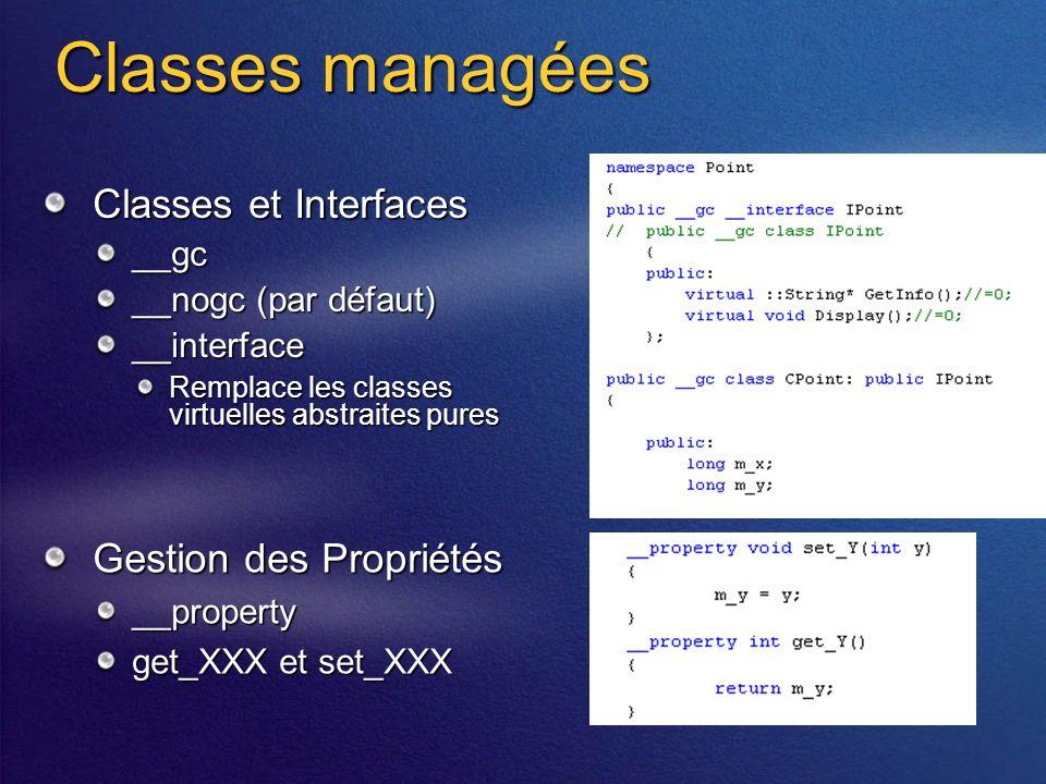 Classes managées Classes et Interfaces __gc __nogc (par défaut) __interface Remplace les classes virtuelles abstraites pures Gestion des Propriétés __property get_XXX et set_XXX