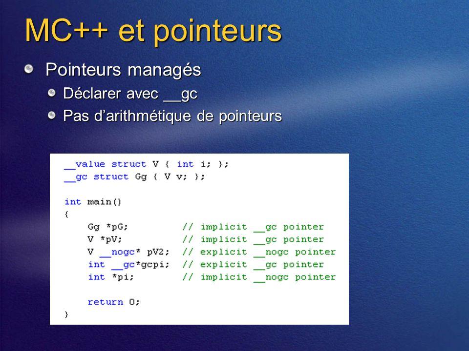 MC++ et pointeurs Pointeurs managés Déclarer avec __gc Pas darithmétique de pointeurs