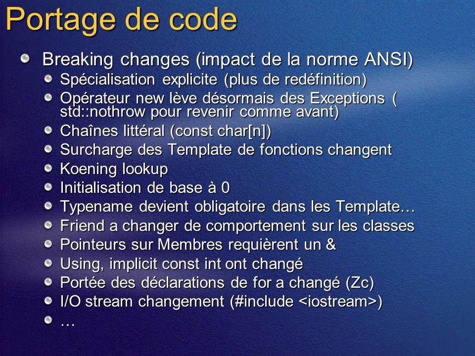 Windows Forms Control as CView Derivée de CWinFormsView class MyView : public CWinFormsView Specifier le type de contrôle dans le constructeur MyView::MyView() : CWinFormsView( MyControl::typeid ) { … } Recevoir les Update Notification des views dans le Contrôle Utiliser Microsoft::VisualC::MFC::IView Travailler avec les MFC Command Routing Utiliser Microsoft::VisualC::MFC::ICommandTarget