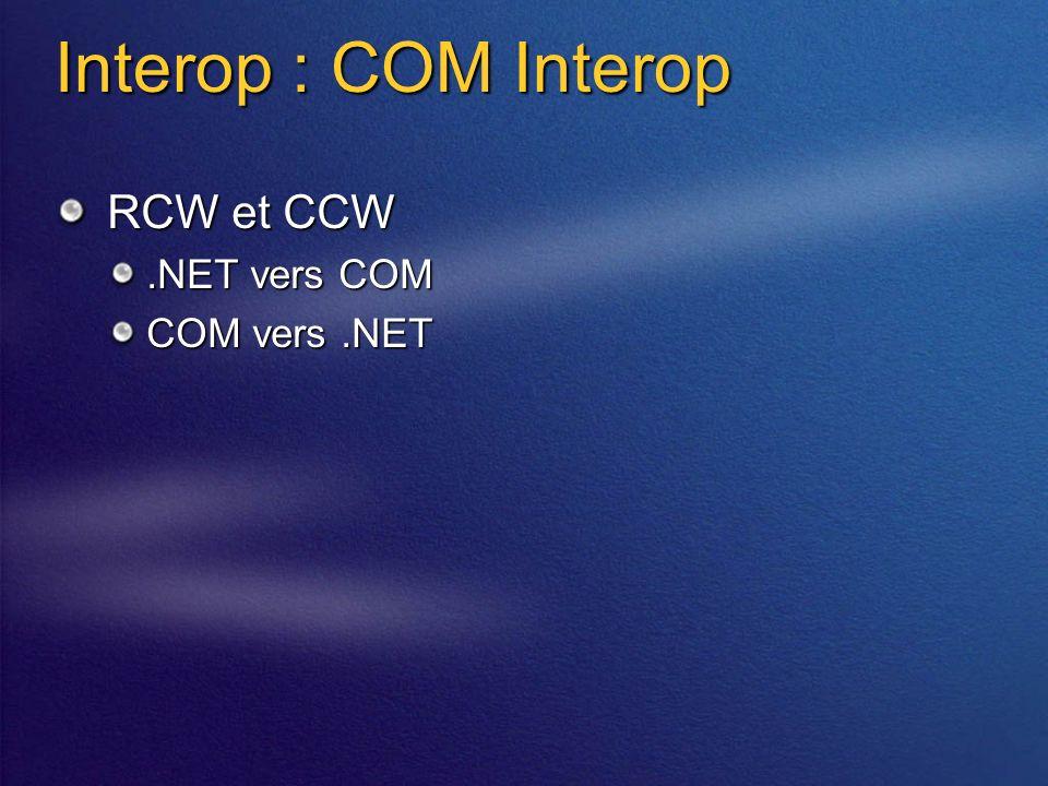 Interop : COM Interop RCW et CCW.NET vers COM COM vers.NET