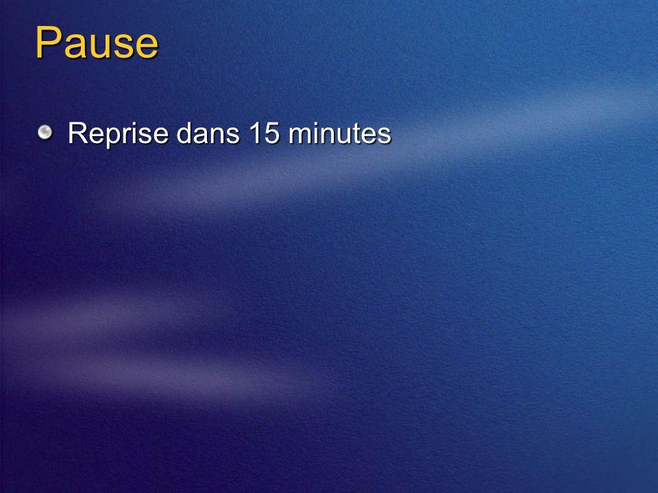 Pause Reprise dans 15 minutes