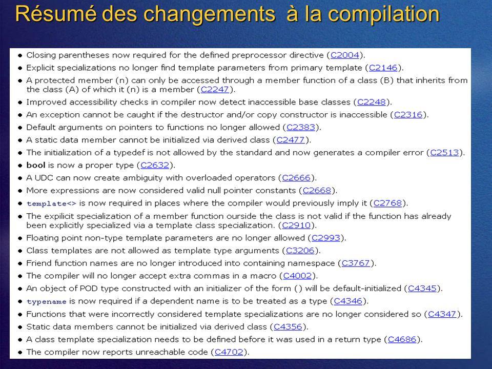 Résumé des changements à la compilation