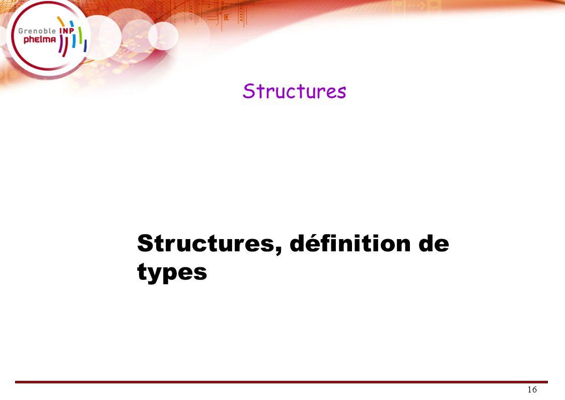 16 Structures Structures, définition de types