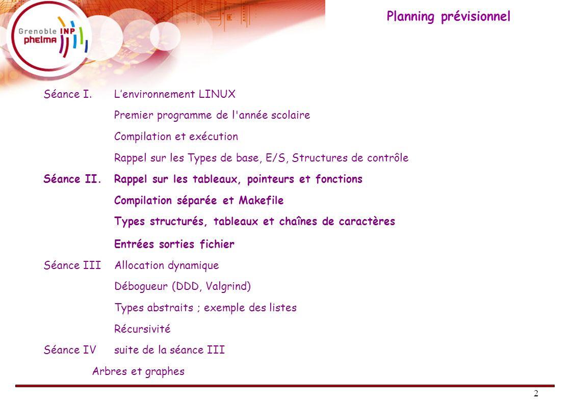 2 Séance I. Lenvironnement LINUX Premier programme de l'année scolaire Compilation et exécution Rappel sur les Types de base, E/S, Structures de contr