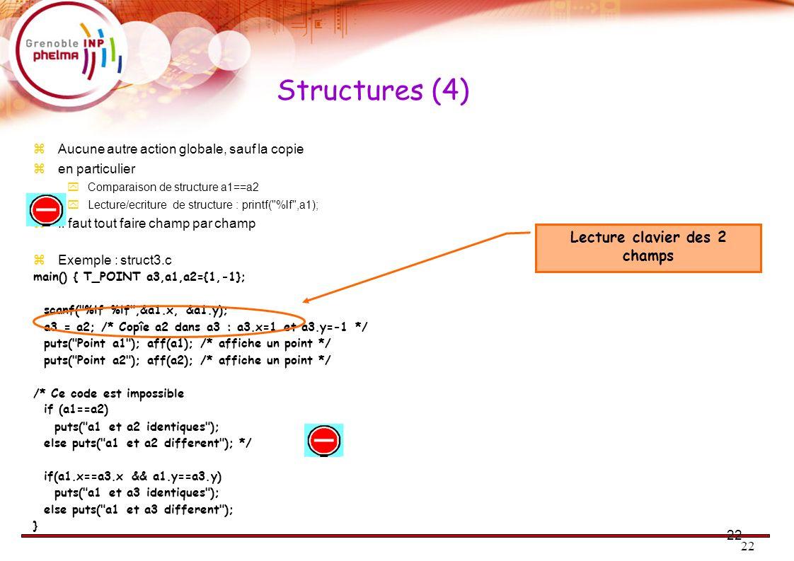 22 Structures (4) Aucune autre action globale, sauf la copie en particulier Comparaison de structure a1==a2 Lecture/ecriture de structure : printf(
