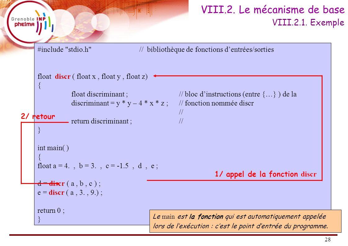 28 VIII.2. Le mécanisme de base #include