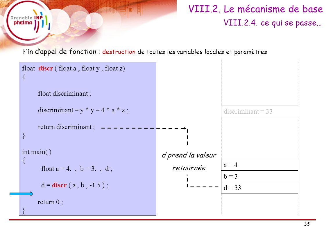 35 float discr ( float a, float y, float z) { float discriminant ; discriminant = y * y – 4 * a * z ; return discriminant ; } int main( ) { float a =