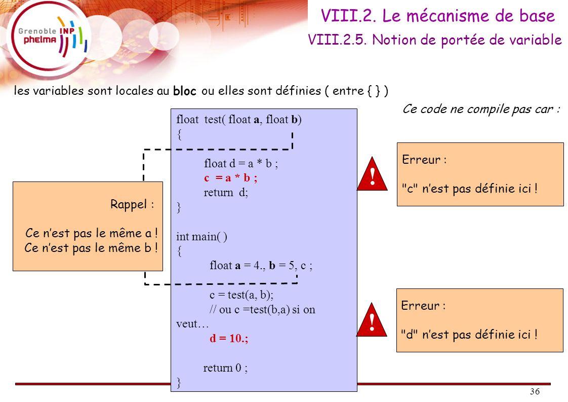 36 VIII.2. Le mécanisme de base VIII.2.5. Notion de portée de variable float test( float a, float b) { float d = a * b ; c = a * b ; return d; } int m