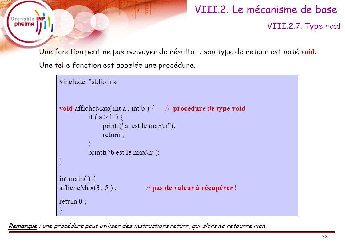 38 Une fonction peut ne pas renvoyer de résultat : son type de retour est noté void. Une telle fonction est appelée une procédure. #include