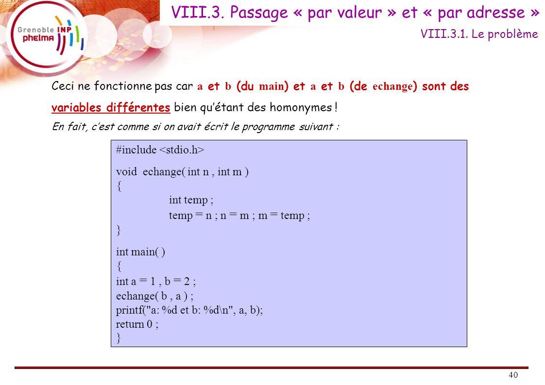 40 Ceci ne fonctionne pas car a et b (du main ) et a et b (de echange ) sont des variables différentes bien quétant des homonymes ! En fait, cest comm