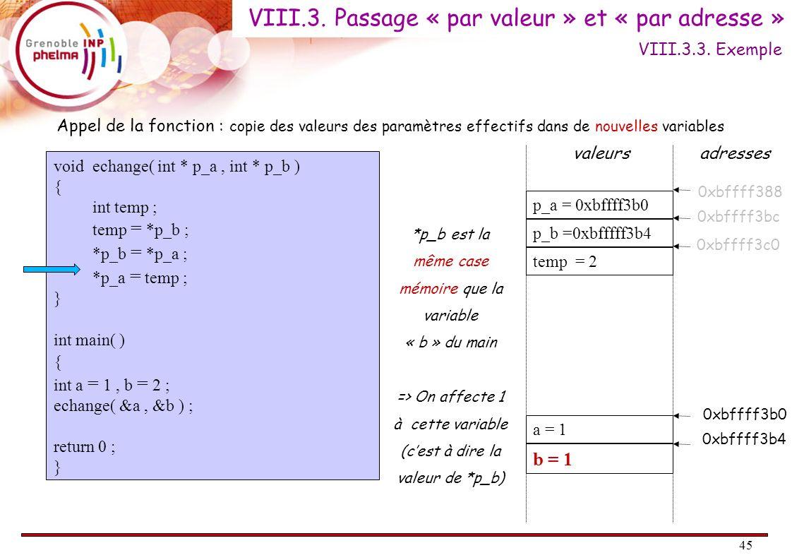 45 void echange( int * p_a, int * p_b ) { int temp ; temp = *p_b ; *p_b = *p_a ; *p_a = temp ; } int main( ) { int a = 1, b = 2 ; echange( &a, &b ) ;